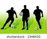 Soccer players silhouettes - vector illustration! - stock vector