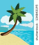 cartoon tropical beach with... | Shutterstock .eps vector #134843195