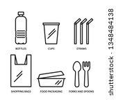 Single Use Plastic Icons Set ...