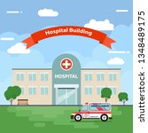 the hospital building is... | Shutterstock .eps vector #1348489175
