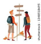 direction pointer hikers couple ... | Shutterstock .eps vector #1348518695