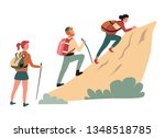 hiking climbing cliff man and... | Shutterstock .eps vector #1348518785