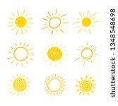 doodle sun  set of hand drawn... | Shutterstock . vector #1348548698