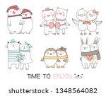 cute baby animal cartoon hand... | Shutterstock .eps vector #1348564082