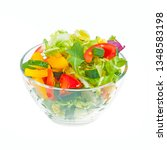 fresh healthy vegetable salad... | Shutterstock . vector #1348583198