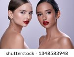 gorgeous girls wearing evening... | Shutterstock . vector #1348583948