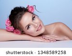beautiful woman with naked... | Shutterstock . vector #1348589258