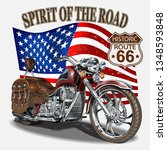 vintage route 66 motorcycle...   Shutterstock .eps vector #1348593848