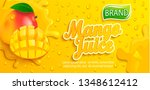 fresh mango juice splash banner ... | Shutterstock .eps vector #1348612412