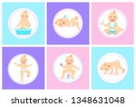 child with positive face vector ... | Shutterstock .eps vector #1348631048