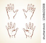 outstretched child handprint... | Shutterstock .eps vector #1348632008