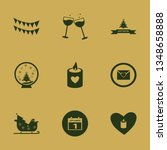 celebrate icon set with heart... | Shutterstock .eps vector #1348658888