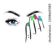 woman hand with colorful... | Shutterstock .eps vector #1348669385