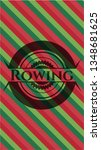 rowing christmas badge. | Shutterstock .eps vector #1348681625