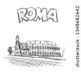 roman coliseum. sight in rome ... | Shutterstock .eps vector #1348682642
