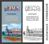 rome trip banner set with... | Shutterstock .eps vector #1348682648