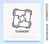 teamwork thin line icon with... | Shutterstock .eps vector #1348691915