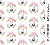 easter pug seamless pattern on...   Shutterstock . vector #1348711322