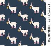 easter llama seamless pattern...   Shutterstock . vector #1348711325