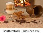 latte macchiato on the... | Shutterstock . vector #1348726442