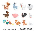 cute farm animals set. goat ... | Shutterstock .eps vector #1348726982