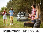 group of young people enjoying... | Shutterstock . vector #1348729232