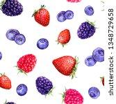 mix of berries  raspberry ... | Shutterstock . vector #1348729658