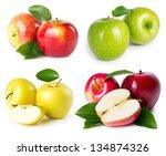 fresh apples isolated on white... | Shutterstock . vector #134874326