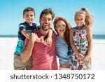 portrait of happy family... | Shutterstock . vector #1348750172