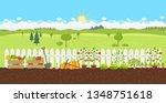 landscape gardening planting... | Shutterstock .eps vector #1348751618