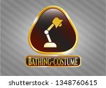 golden badge with desk lamp... | Shutterstock .eps vector #1348760615