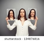 young woman hiding her emotions | Shutterstock . vector #134876816