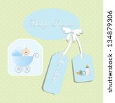 baby shower card  for baby boy... | Shutterstock .eps vector #134879306