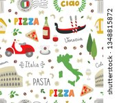 italy seamless vector pattern.... | Shutterstock .eps vector #1348815872