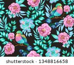 tropical wallpaper with exotic...   Shutterstock . vector #1348816658