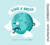 earth hour day. cute cartoon... | Shutterstock .eps vector #1348830452