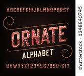 ornate alphabet font with... | Shutterstock .eps vector #1348840745