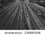 railroad tracks in black and...   Shutterstock . vector #134885348