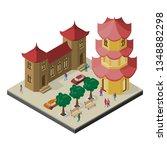 isometric east asia cityscape....   Shutterstock .eps vector #1348882298