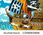 cartoon scene with pirate ship... | Shutterstock . vector #1348883888