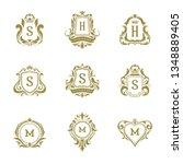 luxury logos monograms crest... | Shutterstock .eps vector #1348889405