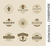 bakery logos and badges design...   Shutterstock .eps vector #1348889408