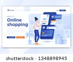 landing page template of online ... | Shutterstock .eps vector #1348898945