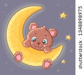 cute teddy bear on moon....   Shutterstock .eps vector #1348898975