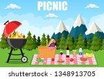 picnic in the mountains. wicker ... | Shutterstock .eps vector #1348913705