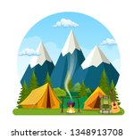 summer camp. landscape with...   Shutterstock .eps vector #1348913708
