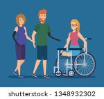 people with physical injury and ... | Shutterstock .eps vector #1348932302