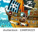 cartoon scene with pirate ship... | Shutterstock . vector #1348934225