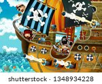 cartoon scene with pirate ship... | Shutterstock . vector #1348934228