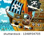 cartoon scene with pirate ship... | Shutterstock . vector #1348934705
